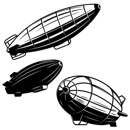 Illustration pour Set of aerostat illustrations on white background. airships zeppelins. Design elements for logo, label, emblem, sign. Vector image - image libre de droit