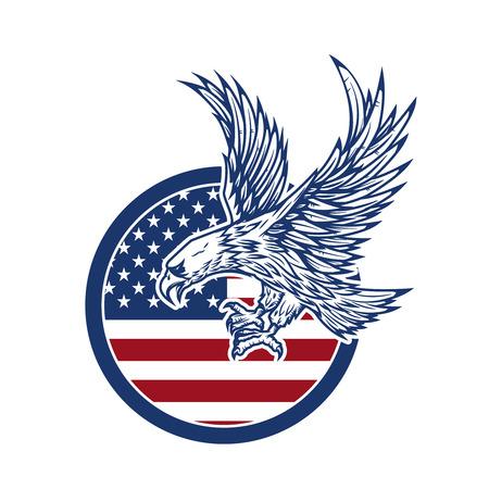 Illustration pour Eagle on american flag.  Design element for label, sign. - image libre de droit
