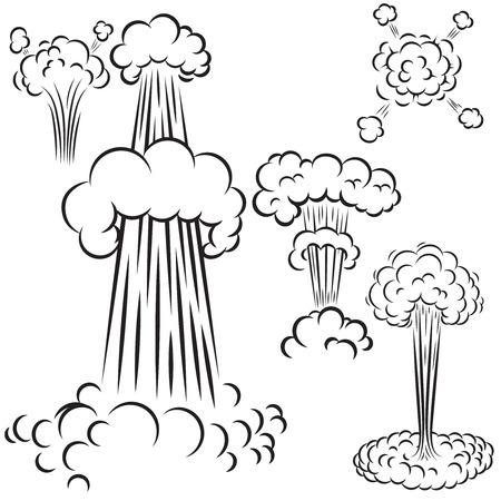 Ilustración de Set of comic  style explosions on white background. Design element for poster, card, banner, flyer. Vector illustration - Imagen libre de derechos