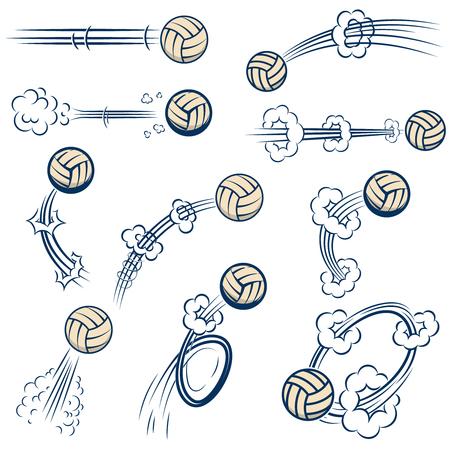 Ilustración de Set of volleyball balls with motion trails in comic style. Design element for poster, banner, flyer, card. - Imagen libre de derechos