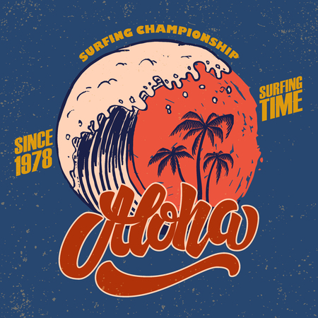 Illustration for Aloha. Surfing time. Poster template with lettering and palms. Vector image - Royalty Free Image