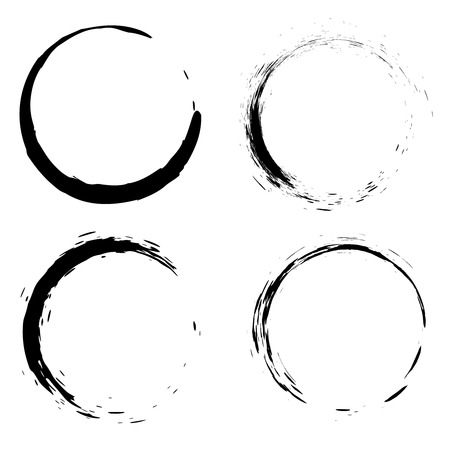 Illustration pour Set of black brush strokes in the form of a circle. Design element for poster, card, sign, banner. - image libre de droit