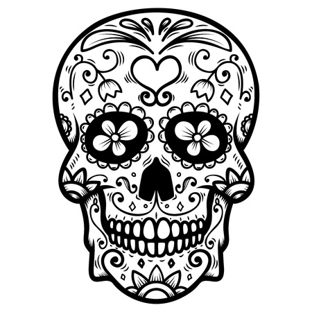 Illustrazione per Sugar skull isolated on white background. Day of the dead. Dia de los muertos. Design element for poster, card, banner, print. Vector illustration - Immagini Royalty Free