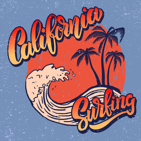 Ilustración de California surf rider. Poster template with lettering and palms. Vector image - Imagen libre de derechos