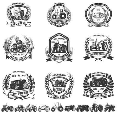 Illustration pour Set of emblem with tractors - image libre de droit