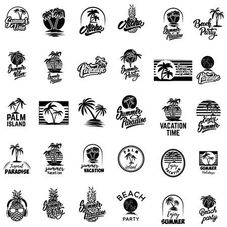 Ilustración de Set of summer emblems with palms. For emblem, sign, logo, label, badge. Vector image - Imagen libre de derechos