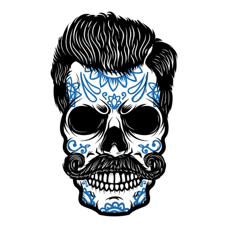 Photo pour Sugar skull isolated on white background. Day of the dead. Dia de los muertos. Design element for poster, card, banner, print. - image libre de droit