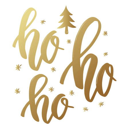 Photo for Ho ho ho. Lettering phrase in golden style on white background. Design element for poster, greeting card. Vector illustration - Royalty Free Image