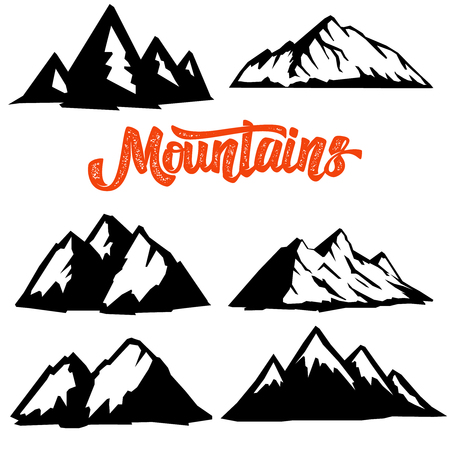Illustration pour Set of mountain icons isolated on white background. Design element for  label, emblem, sign, badge, poster, t shirt. - image libre de droit