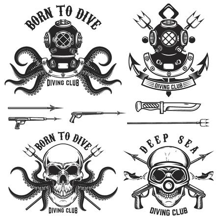 Ilustración de Born to dive. Set of vintage diver helmets, diver label templates and design elements.  Design elements for label, emblem, sign, badge, brand mark. - Imagen libre de derechos