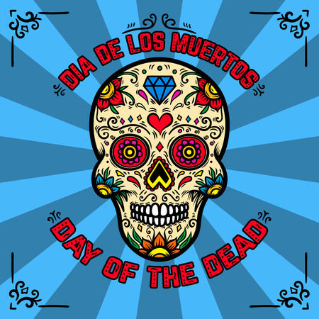 Illustration pour Day of the dead. Dia de los muertos. Banner template with mexican sugar skull on background with floral pattern. Design element for poster, card, flyer, t shirt. Vector illustration - image libre de droit