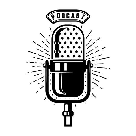 Illustration pour Podcast. Retro microphone isolated on white background. Design element for emblem, sign, logo, labe. Vector illustration - image libre de droit