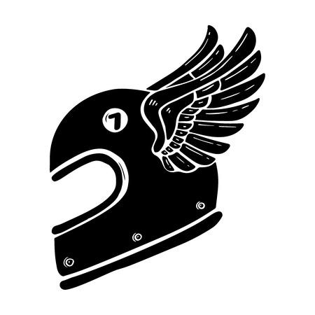 Illustration pour Hand drawn racer helmet with wings illustration isolated on white background. Design element for poster, card, banner, sign, emblem, t shirt. Vector illustration - image libre de droit