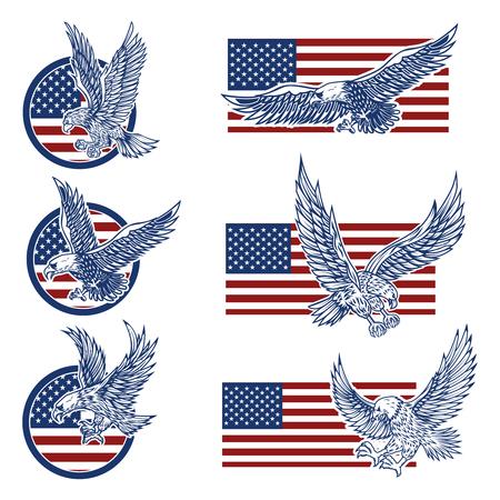 Illustration pour Set of the emblems with eagles on usa flag background. Design elements for logo, label, emblem, sign. Vector illustration - image libre de droit