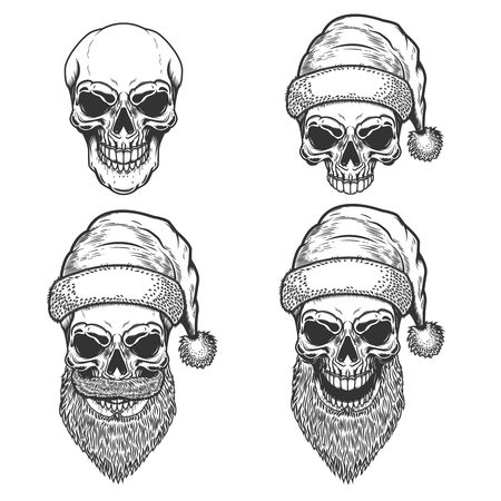 Illustrazione per Set of Santa Claus skulls on white background. Christmas nightmare. Design element for logo, label, sign, poster, t shirt. Vector illustration - Immagini Royalty Free