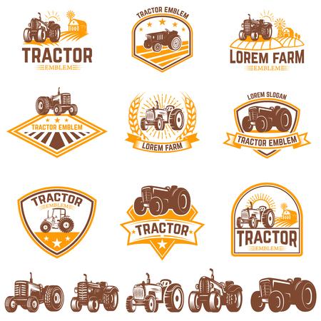 Illustration for Set of tractor emblems. Farmers market. Design element for logo, label, sign. Vector illustration - Royalty Free Image