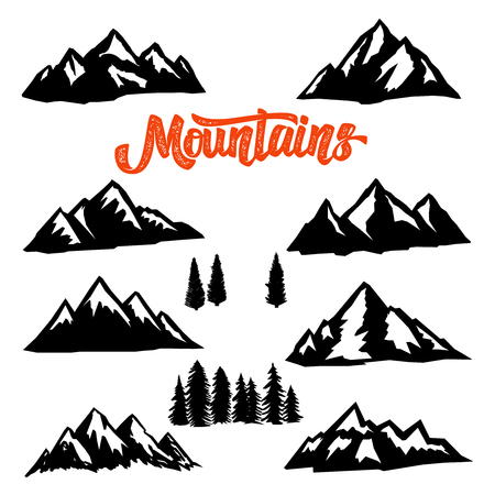 Illustration pour Set of mountain peaks illustrations on white background. Design element for logo, label, emblem, sign. Vector image - image libre de droit