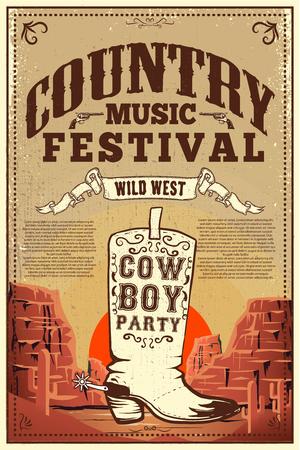 Ilustración de Country music festival poster. Party flyer with cowboy boots. Design element for poster, card, label, sign, card, banner. Vector image - Imagen libre de derechos