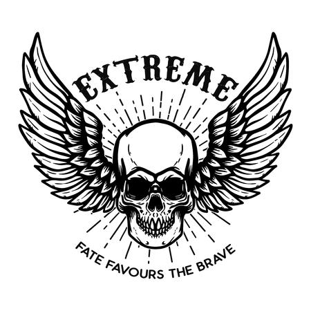 Ilustración de Extreme. Winged skull on white background. Design element for logo, label, emblem, sign, poster. Vector illustration - Imagen libre de derechos