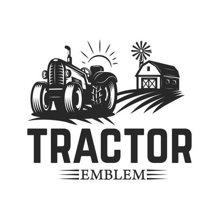 Illustration pour Farmers market. Emblem template with tractor. Design element for logo, label, emblem, sign. Vector illustration - image libre de droit