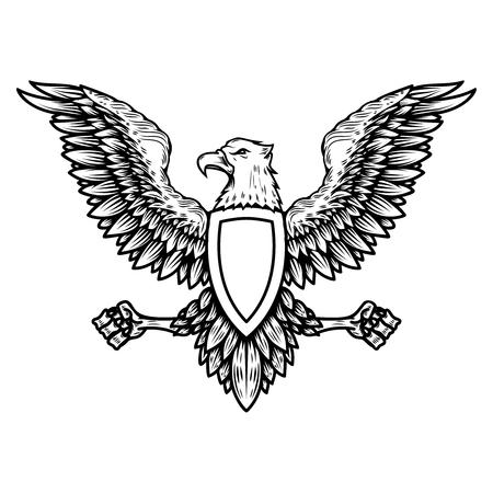 Illustration for Emblem template with eagle in engraving style. Design elements for logo, label, sign, menu. Vector illustration - Royalty Free Image