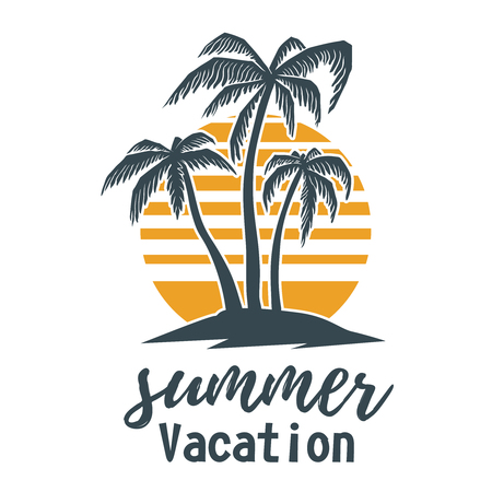 Illustration for Summer emblem with palms. Design element for logo,  label, sign, t shirt. - Royalty Free Image