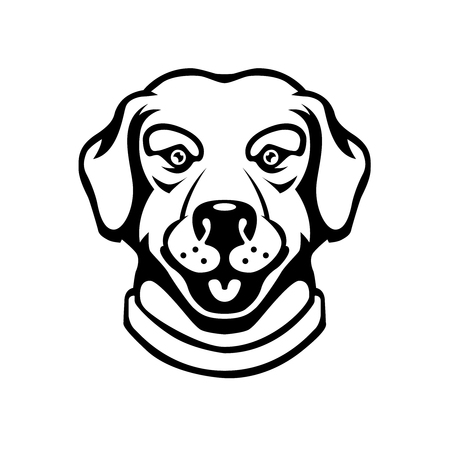 Ilustración de Labrador head illustration in engraving style. Design element for logo, label, sign, poster, t shirt. - Imagen libre de derechos