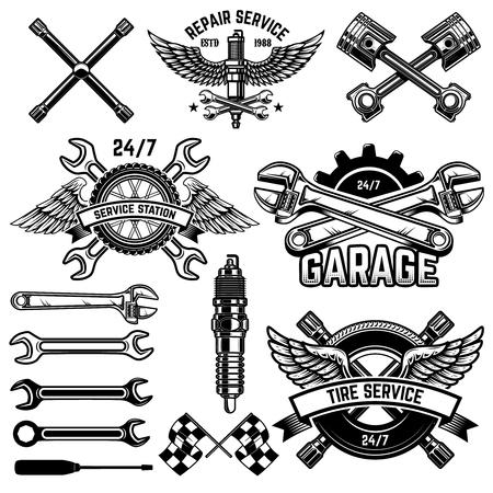 Illustration pour Set of car service station emblems and design elements. For logo, label, sign, banner, t shirt, poster. - image libre de droit