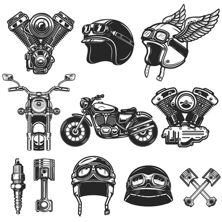 Ilustración de Set of motorcycle design elements. for logo, label, emblem, sign, poster, t shirt. - Imagen libre de derechos