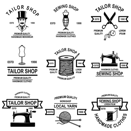 Illustration pour Set of tailor shop emblems. Design elements for  label, sign, badge. Vector illustration - image libre de droit