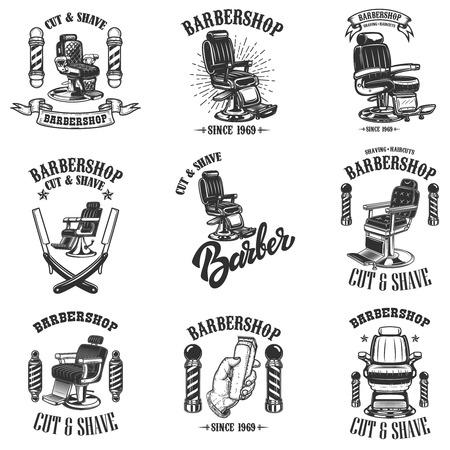 Illustration pour Set of vintage barber shop emblems with barber chair, badges and design elements.  for logo, label, sign. Vector illustration - image libre de droit