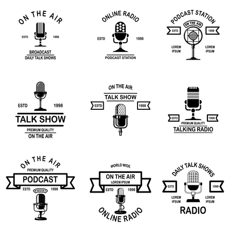 Ilustración de Set of podcast, radio emblems with microphone. Design element for logo, label, sign, badge, poster. Vector illustration - Imagen libre de derechos