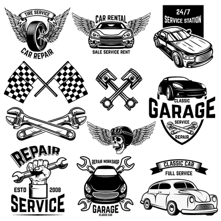 Illustration pour Set of car service station emblems and design elements. For logo, label, sign, banner, t shirt, poster. Vector illustration - image libre de droit