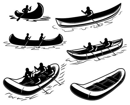 Ilustración de Set of canoe, boat, raft illustration. Design element for poster, emblem, sign, poster, t shirt. Vector illustration - Imagen libre de derechos