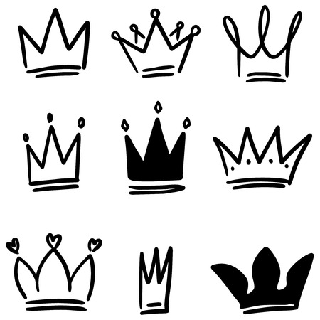 Illustration for Set of crown illustrations in sketching style. Corona symbols. Tiara icons. Vector illustration - Royalty Free Image