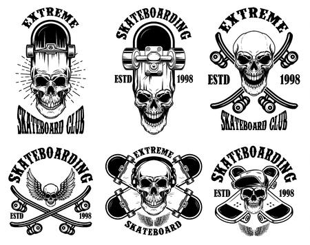 Illustration pour Set of skateboarding club emblems with skulls. Design element for poster, logo, sign, label, t shirt. Vector illustration - image libre de droit