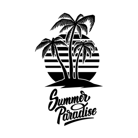 Illustration pour Summer emblem with palms. Design element for logo, label, sign, poster, t shirt. Vector illustration - image libre de droit