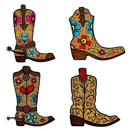 Ilustración de Set of Cowboy boot with floral pattern.  Design element for poster, t shirt, emblem, sign. - Imagen libre de derechos