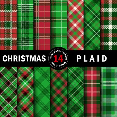 Illustration pour Set Christmas Tartan Seamless Patterns. Vector illustration. - image libre de droit