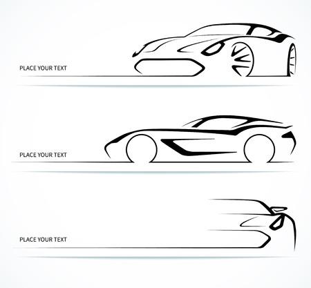 Ilustración de Set of abstract linear car silhouettes. - Imagen libre de derechos