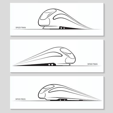 Illustration pour Set of modern speed train silhouettes and contours - image libre de droit