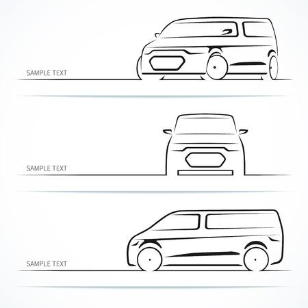 Photo pour Set of modern car silhouettes. - image libre de droit