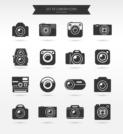 Illustration pour Photo camera icon set - image libre de droit