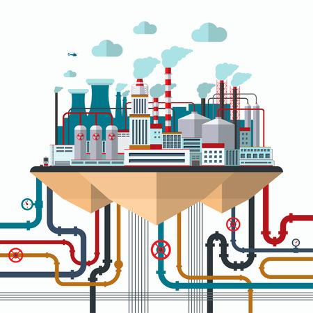 Ilustración de Flat design nature pollution concept - Imagen libre de derechos