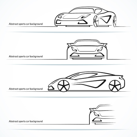 Illustration pour Set of four abstract sports car silhouettes. - image libre de droit