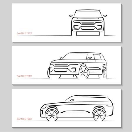 Ilustración de Set of modern car silhouettes. - Imagen libre de derechos