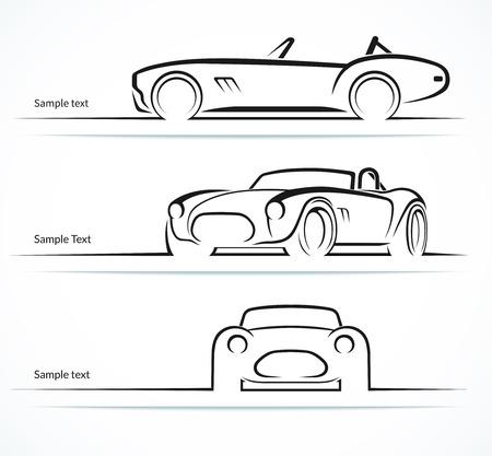 Ilustración de Set of vintage classic sports car silhouettes - Imagen libre de derechos