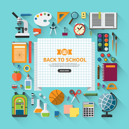 Photo for Back to school flat design modern vector illustration background with education icon set. School supplies : schoolbook, notebook, pen, pencil, paintbrush, paints, stationary, training aids, ball, school bag etc. - Royalty Free Image