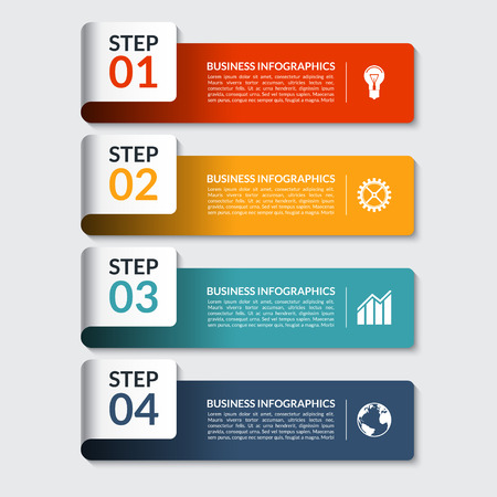 Illustration pour Infographic design number banners template. Can be used for workflow or graphic layout, diagram, graph, number options, step presentation, web design. 4 steps business concept. Vector illustration - image libre de droit