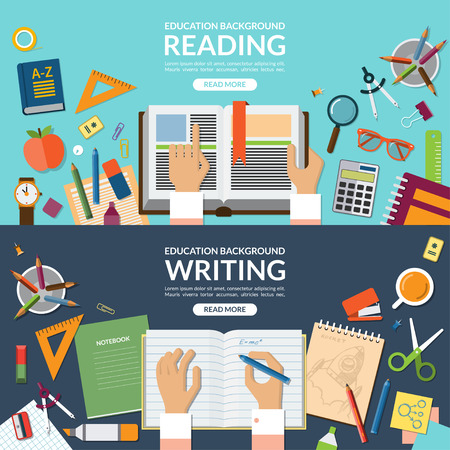 Photo for School and education, reading and writing concept banner set. Open book in hands. Writing in a notebook. School supplies. Top view on desktop. Flat design vector illustration background - Royalty Free Image